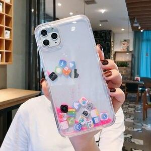 Image 2 - Custodia per telefono Quicksand dinamica di lusso per iPhone 11 12 Mini Pro Max XS Max X XR 7 8 Plus Cover posteriore rigida per Pc con Glitter per cartoni animati