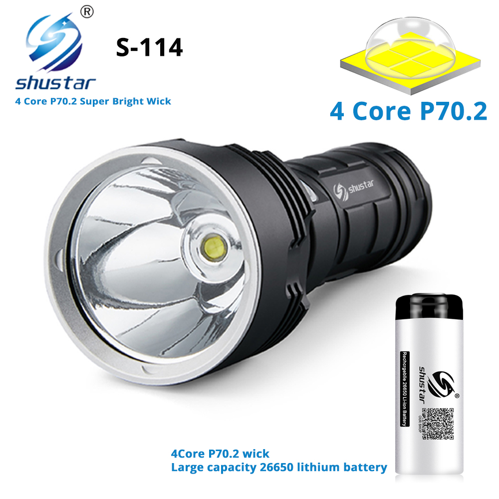 S114 Super bright LED Flashlight 4 core XHP70 2 LED Torch Tactical waterproof camping hunting light Ultra Bright Lantern