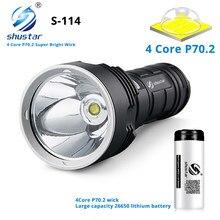 S114 super jasne led latarka 4 rdzeń XHP70.2 latarka led taktyczna wodoodporna camping oświetlenie na polowanie ultra jasny latarnia
