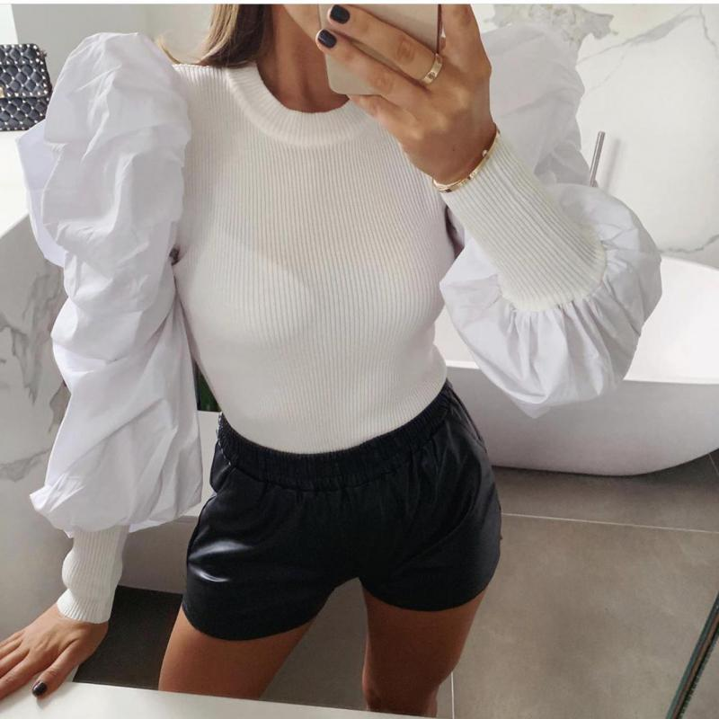 Fashion White Puff Sleeve Blouse Shirt Women Autumn O Neck Ruffles Patchwork Knitted Shirt Crop Vintage Casual Brand Tops Blusas
