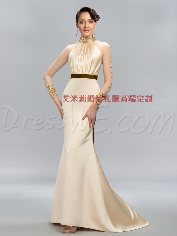 prom Formal evening gown pearls beading vestido de festa sexy high neck long sleeves crystal 2018 mother of the bride dresses