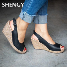 New Women Fashion Sandals Summer New Hot Female Fish Mouth Exposed Toe Wedges