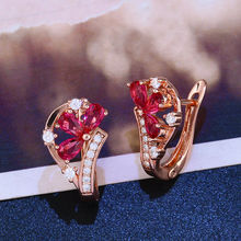 4 colors 585 rose gold color zircon inlaid earrings holiday wedding jewelry anniversary gift fashion exquisite(China)