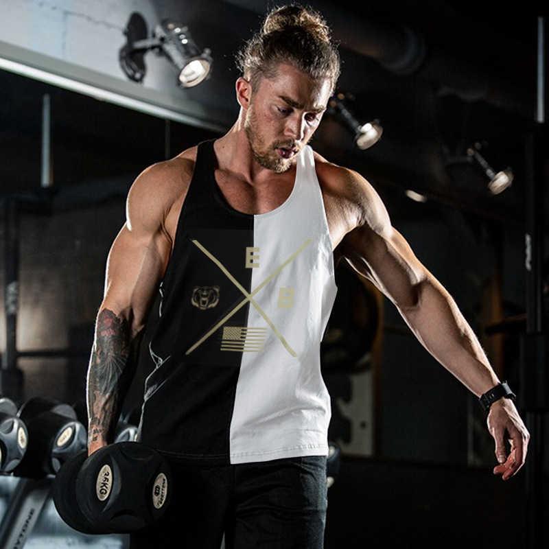 2019 ボディービル男性タンクトップフィットネスシングレットジム服メンズファッションステッチノースリーブシャツジョギング速乾性ベスト