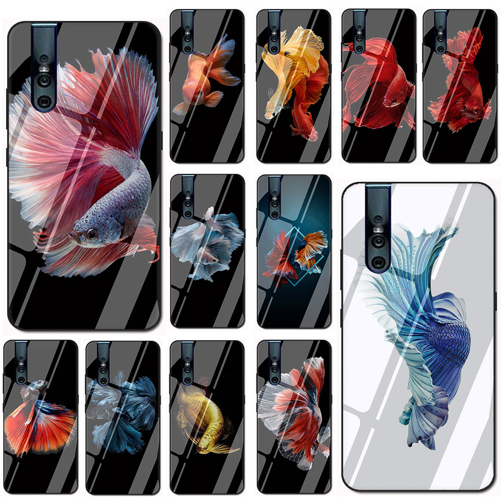 Чехол из закаленного стекла fish для телефона Vivo Y11 Y17 Y55 Y67 Y69 Y71 Y75 Y79 Y81 Y85 Y91 V7 V11 V15 Pro