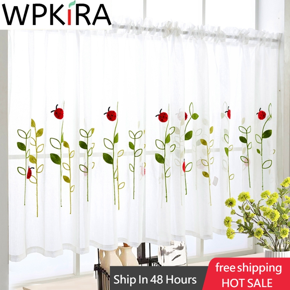 1 PCS Rod Pocket Short Curtain Cute Animals Embroidered Half-Curtain For Kitchen Door Drape Cafe Small Window Panel Sheer WP1213
