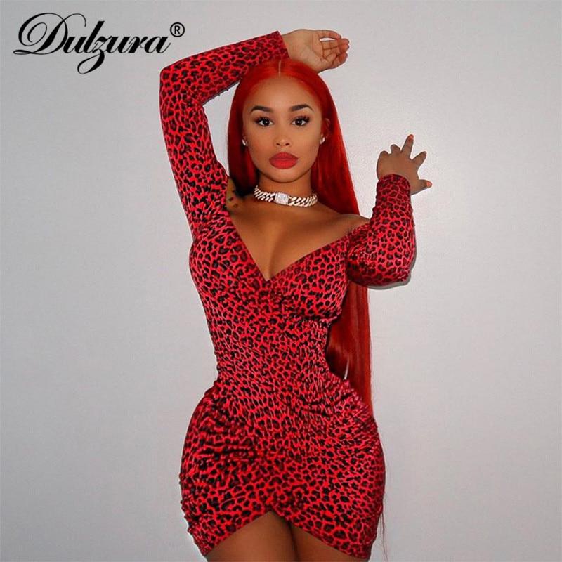 Dulzura Women Wrap Dress Leopard V Neck Slit Bodycon Sexy Off Shoulder Long Sleeve Streetwear 2019 Autumn Winter Clothes Party
