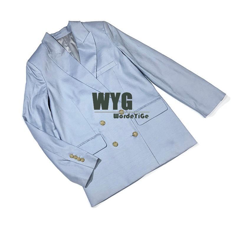 High Street Casual Long Blazer Pants 2020 Autumn New Arrival Top Quality Khaki Light Blue Long Sleeve Women Blazers Trousers
