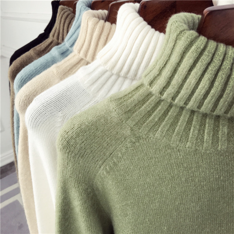 And Winter 2019 New Avocado Green Loose High-collar Sweater Woman Long Sleeve Sleeve Thickened Bottom Knitted Sweater Female