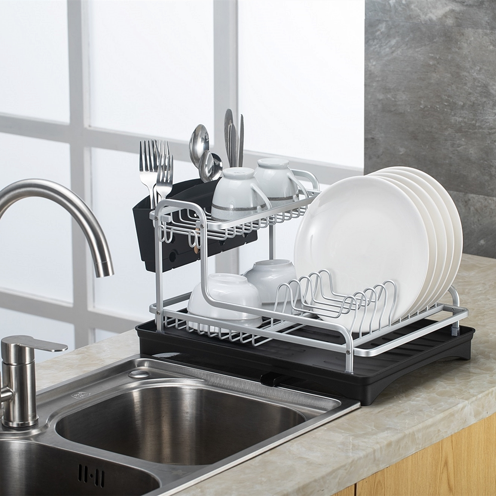 Silver Stainless Aluminum Dish Rack Drainer Kitchen Storage Drying Shelf Tray Over Sink Untensil Holder Drain Organizer Tools