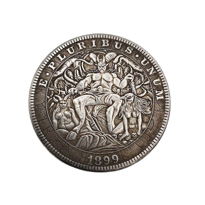 Американская блуждающая монета, 1899 латунные посеребренные памятные монеты демона, украшение для дома, Коллекционирование монет, поделки