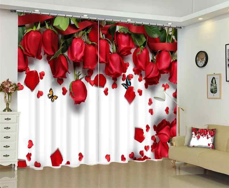 Finestra di Blackout Tende di Lusso 3D Tende per Soggiorno Camera Da Letto Ufficio Hotel Casa Rossa Del Fiore della Rosa Tende