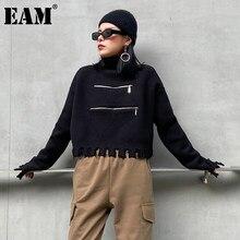 [Eem] Vintage fermuar püskül örme balıkçı yaka kazak gevşek Fit uzun kollu kadın yeni moda gelgit sonbahar kış 2021 1DD2109