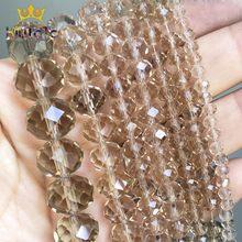 Facetada Champagne Rondelle Grânulos de Cristal De Vidro Soltos Spacer Beads Para Fazer Jóias DIY Pulseira Brincos 15 ''4/6 /8/10/12/14mm