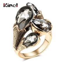 Kinel unikatowe dobrze wycięte szkło kryształowe zabytkowe pierścienie dla kobiet antyczne złoto kropla wody cyrkonią pierścionki biżuteria Boho akcesoria imprezowe