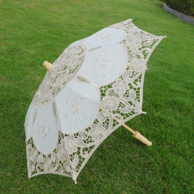 White Beige Lace Parasol Umbrella Wedding Elegant Cotton Embroidery Umbrella