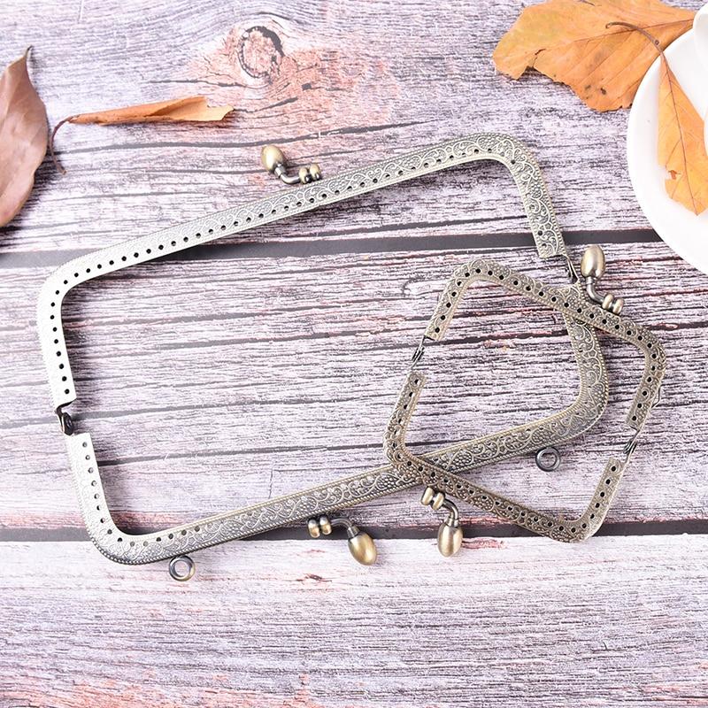 1pcs Bronze DIY Purse Handbag Handle Coin Bag Metal Kiss Clasp Lock Frame Handle