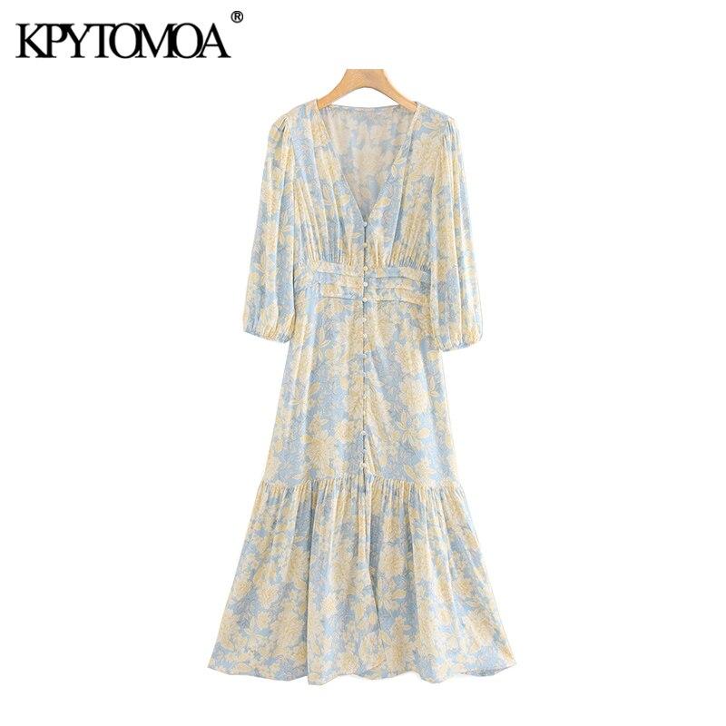 KPYTOMOA Women 2020 Elegant Fashion Floral Print Ruffled Midi Dress Vintage V NecK Three Quarter Sleeve Female Dresses Vestidos