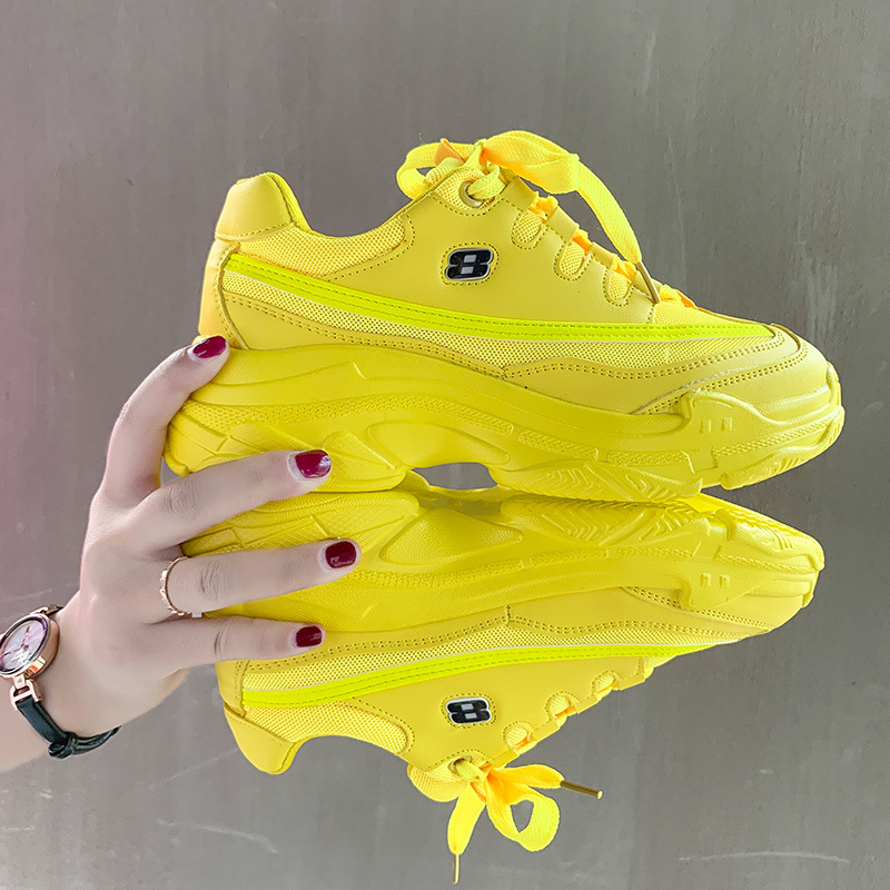 Candy-Colored Fashion Platform Sneakers Women Leather Comfortable Chunky Casual Shoes Fashion Female Trainers Yellow Shoes Woman
