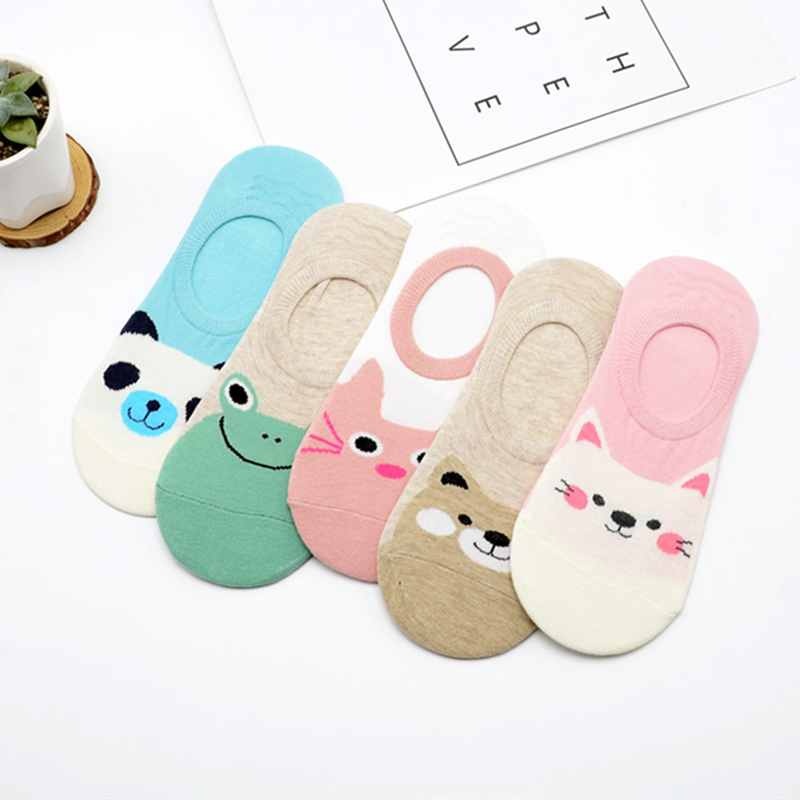 5 Pairs Cute Harajuku Socks Women Cartoon Print Animal Panda Frog Cat Pattern Meias Cotton Socks For Women Summer Female Sokken