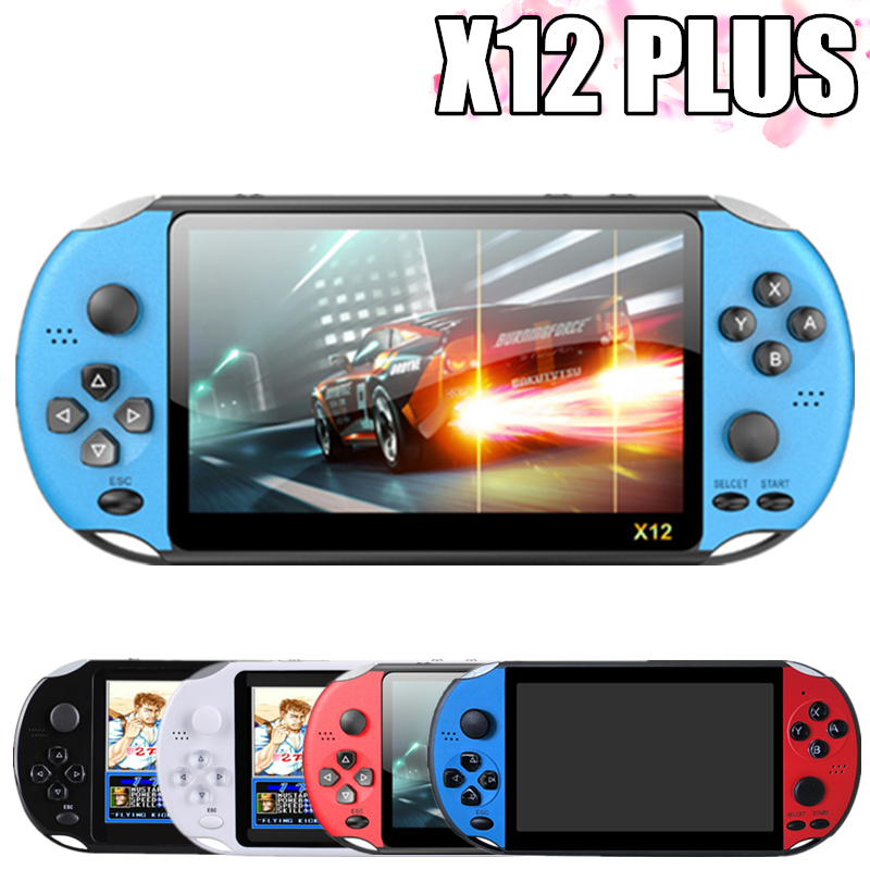 New X12 PLUS Video Game Retro Game Handheld Game Console 5.1 inch IPS Screen Built-in 2000+Classic Games 8G+32G TF Game Player