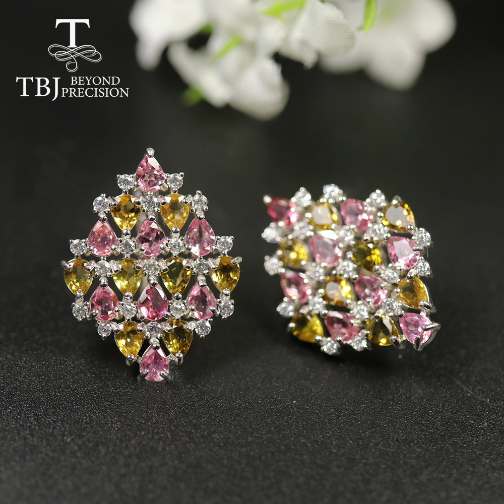 TBJ ,5.5ct Natural Brazil  Colorful Tourmaline clasp earring 925 sterling silver fine jewelry luxury design for party nice gift