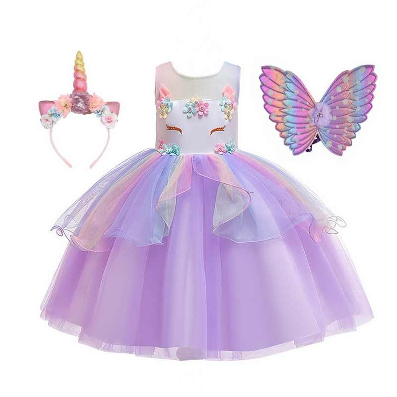 Filles 2020 licorne robe fantaisie Dressing Up Costume Party cosplay Fleur Bandeau