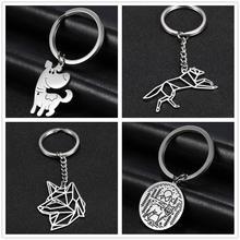 Skyrim Fashion Cute Dog Round Charm Car Keychain Stainless Steel Key Ring Holder Keyrings Pendant For To Bag Gift for Men Women