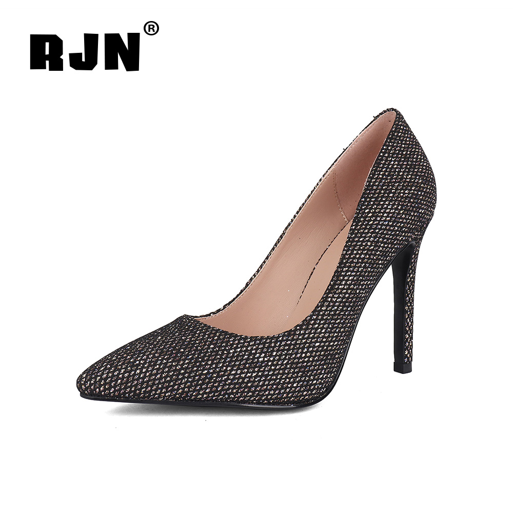 Cheap RJN Fashion Sequined Cloth Pumps Sexy Pointed Toe Super High Thin Heel Bling Shoes Women Slip-on Shallow Pumps For Party R35