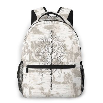 Birch Trees On Birch Bark Background Casual Daypack Travel School Bag with Pockets for Women College фото