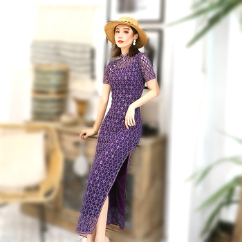 Sheng Coco Purple Lace Qipao Dresses Long Hollow Cheongsam 2020 Banquet Party Evening Dress Sexy Lace Chinese Clothing