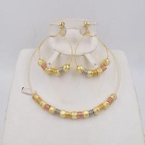 Image 1 - Высококачественные модные серьги подвески Ltaly 750 золотого цвета, разноцветное ожерелье, металлический набор украшений для вечерние 2020