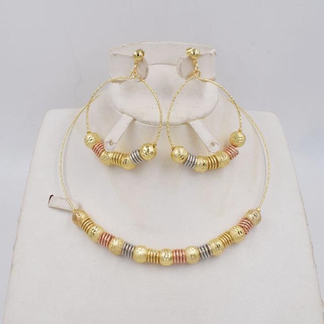 Высококачественные модные серьги подвески Ltaly 750 золотого цвета, разноцветное ожерелье, металлический набор украшений для вечерние 2020