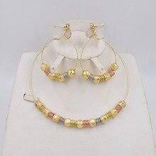 Ltaly pendientes colgantes de Color dorado para mujer, conjunto de joyería para mujer, conjunto de joyería de Metal para fiesta, 750