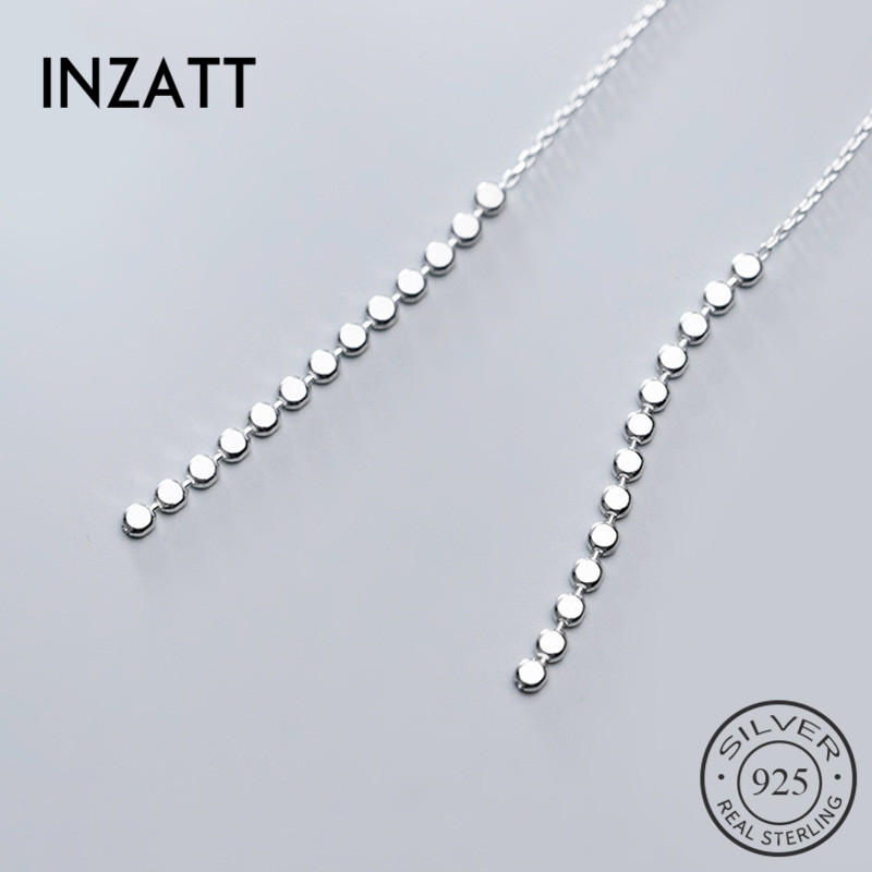 INZATT Real 925 Sterling Silver Tassel  Drop Earrings For Elegant Women Party  Fine Jewelry Fashion Minimalist Accessories Gift