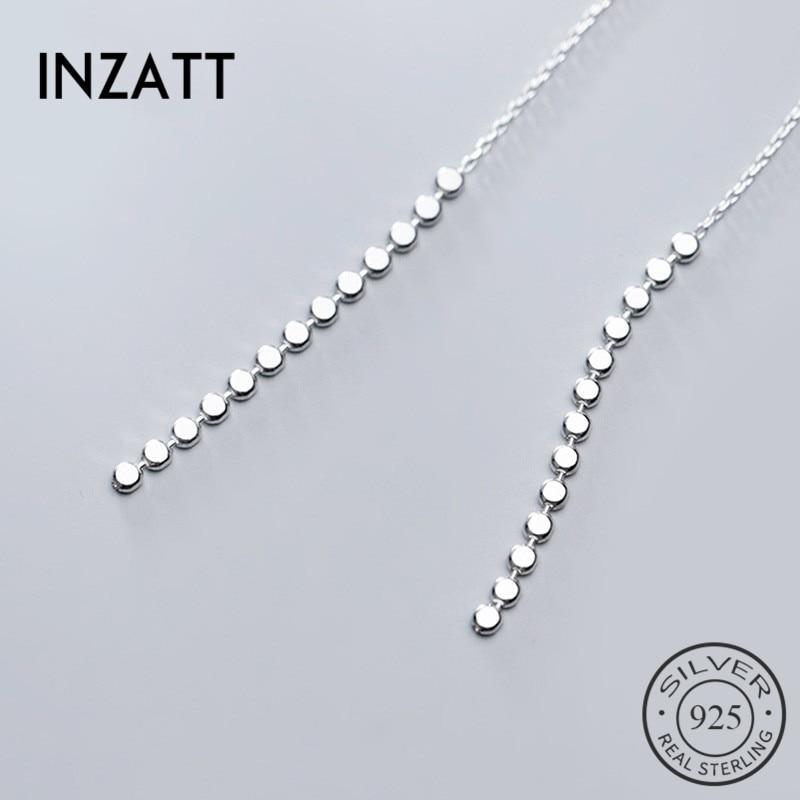 INZATT Real 925 Sterling Silver Tassel  Drop Earrings For Elegant Women Party  Fine Jewelry Fashion Minimalist Accessories Gift