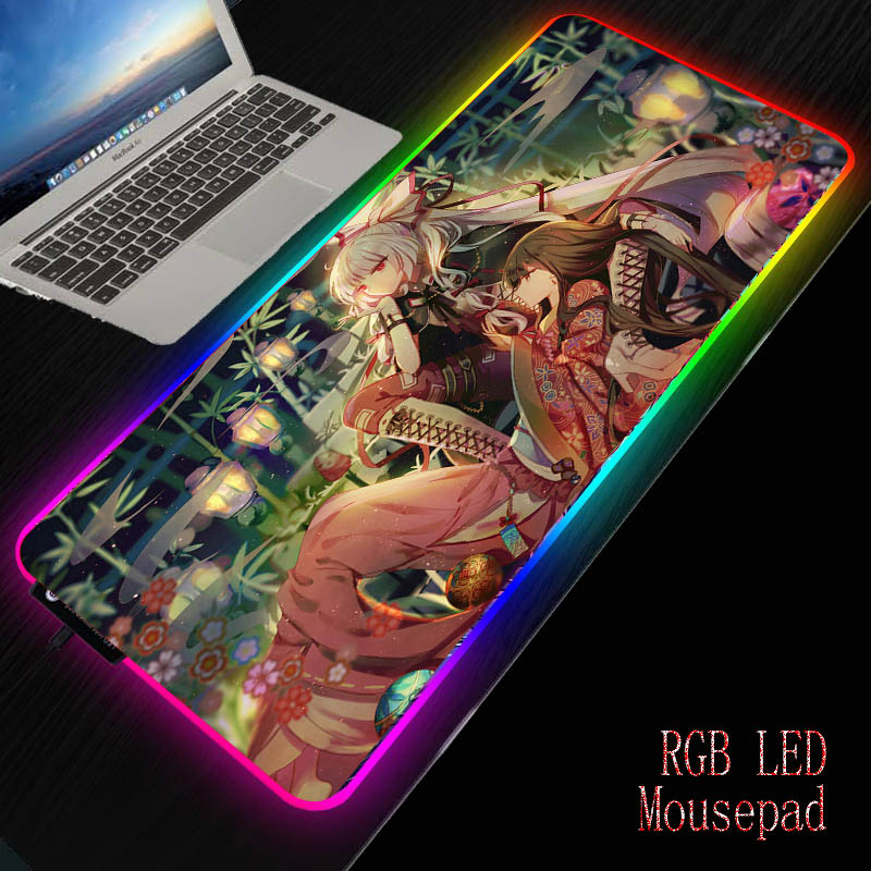 MRGBEST Boy Girl Hug Anime <font><b>Mouse</b></font> <font><b>Pads</b></font> <font><b>Led</b></font> <font><b>RGB</b></font> sparkling light Cool gaming table play mat and ordinary non-slip rubber mats image