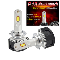 1 Set H7 P18 LED Headlight Super Bright H4 H8 H9 H11 9005 9006 HB3/HB4 9012 HIR2 Cutting Line Focus Beam Turbo Fan 104W 18000LM