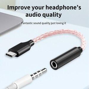 Image 2 - Медный Hi Fi кабель для обновления кабеля, USB Type C 3,5 мм усилитель для наушников, аудиоадаптер DAC для Huawei P20 OnePlus Samsung N309