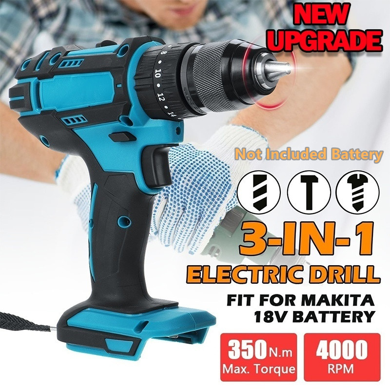 18V 3 in 1 Electric Cordless Impact Drill 2 Speed Rechargable Electric Screwdriver Drill Li Ion Battery For 18VMakita Battery|Electric Drills| - AliExpress