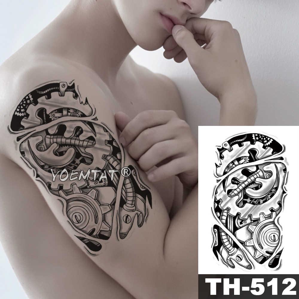 Energii elektrycznej metalowe mechaniczne ramię tymczasowa naklejka tatuaż 3D Bionic biegów wodoodporna tatuaż robota Body Art fałszywy tatuaż mężczyźni kobiety