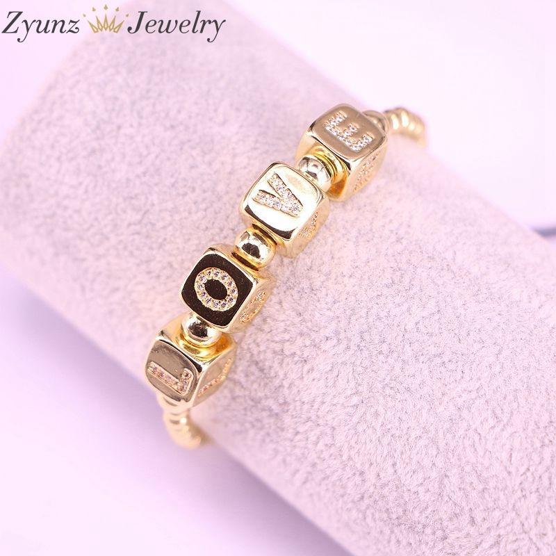 5PCS, Initial Letter Dice Bead L-O-V-E Macrame Bracelet CZ Alphabet Letter Braided Bracelet Women Men Lover Jewelry