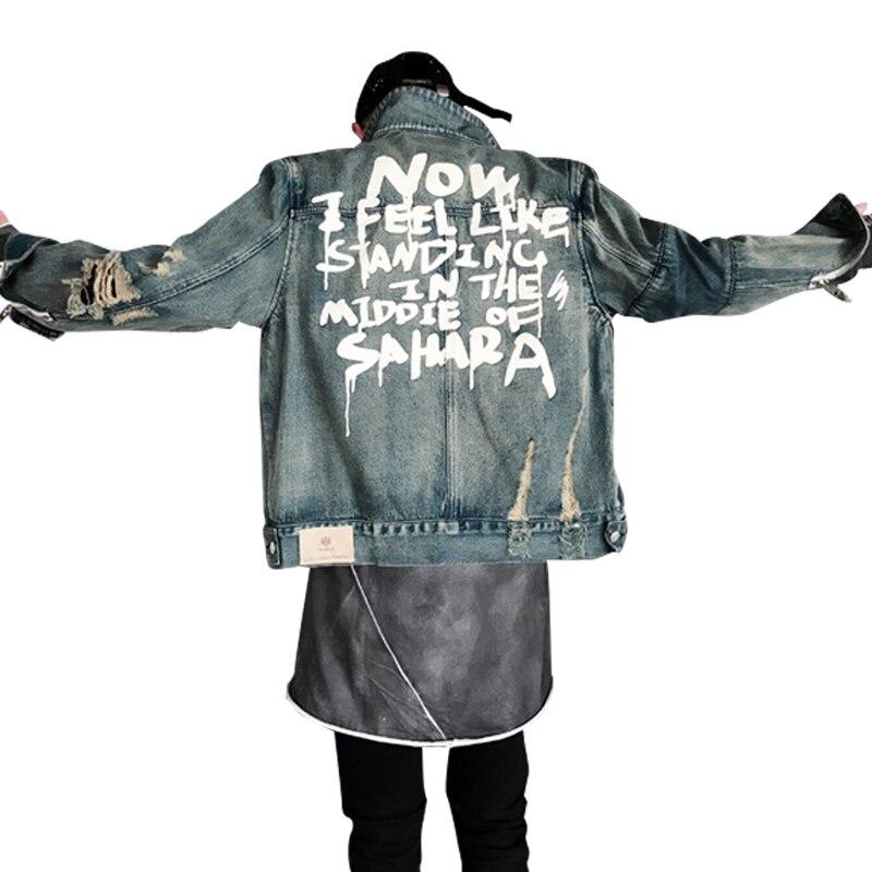 Image 2 - 2019 Street clothing Hip hop style Jeans Jacket Mens Jackets And Coats Denim Jacket Mens Hole Clothes Cotton Jeans Jacket-in Jackets from Men's Clothing