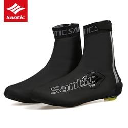 Santic 2019 jazda na rowerze pokrowce na buty PU wodoodporna rower szosowy rower pokrowiec na buty odblaskowe ochraniacze na buty Zapatillas Ciclismo W8C09083 na