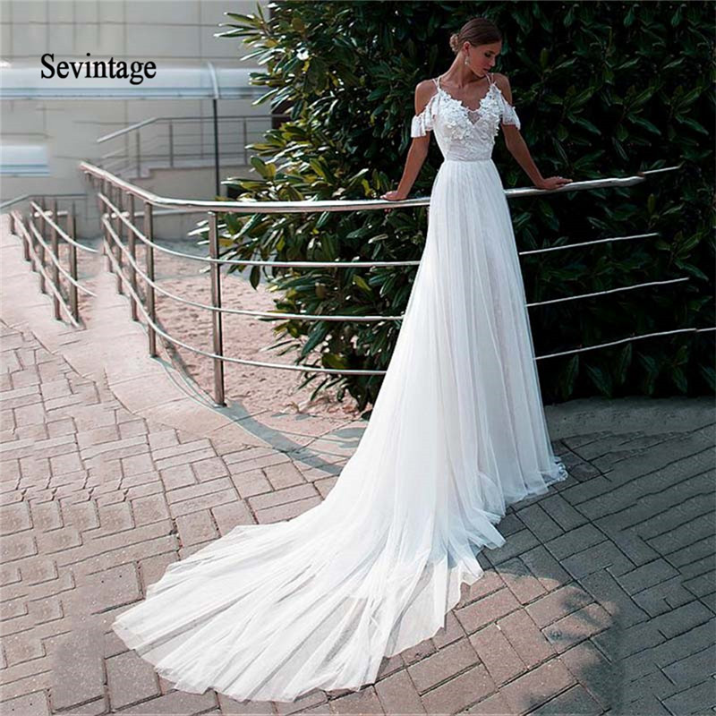 Sevintage A-line V Neck Wedding Dresses Boho Spaghetti Straps Lace 3D Flowers Bridal Dress Off Shoulder Vestidos De Novia 2020