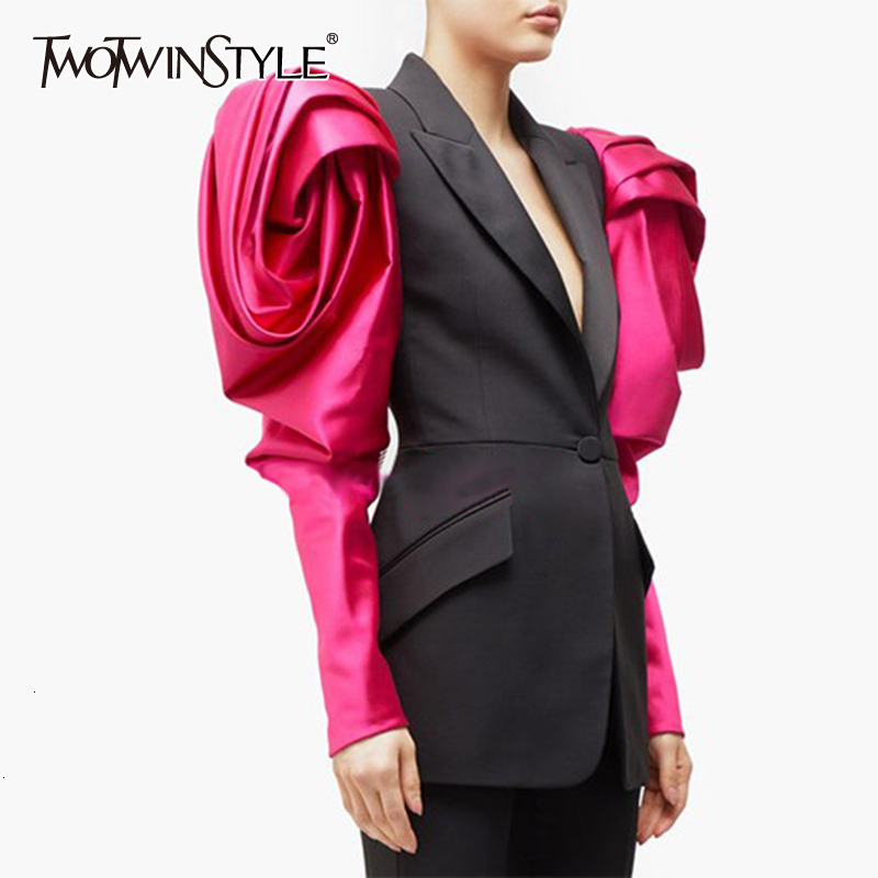 TWOTWINSTYLE Elegant Hit Color Blazer For Women Puff Sleeves Notched Single Button Pocket Female Blazers 2019 Autumn Fashion New
