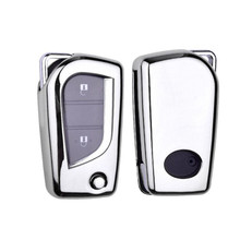 1Pc Foldable Key Cover Full Cover Car Key Case For Toyota Corolla Levin Camry Highlander soft tpu car key case cover keychain for toyota avalon 8 camry 2019 levin ioza chr