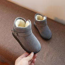 Mumoresip Girls Boots Boys Boots Kids Boots Children Winter Snow Boots Warm Cotton Buckled Rubber Boots Flock Fabric Soft Inside