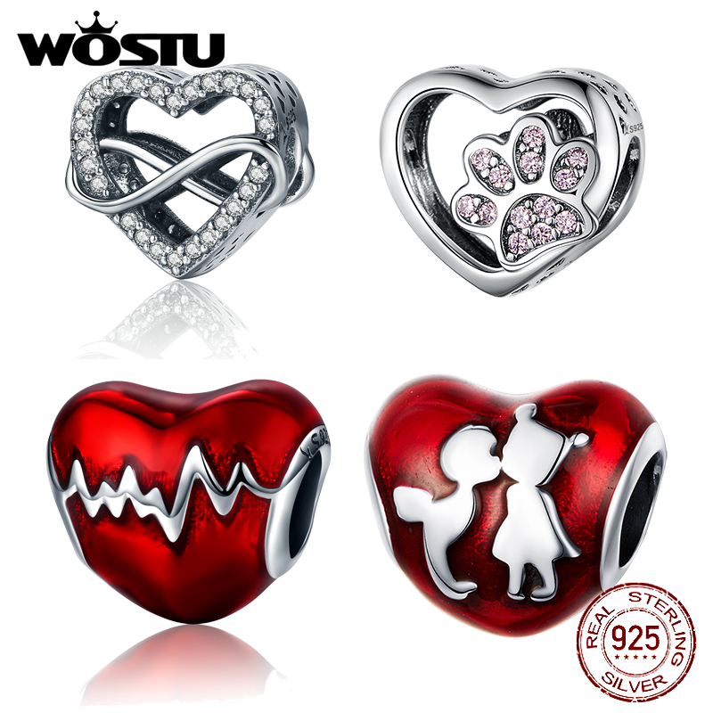 Hot Sale 925 Sterling Silver Love Heart Beads Fit Original Bracelet DIY Fashion Jewelry Making For Women Gift(China)