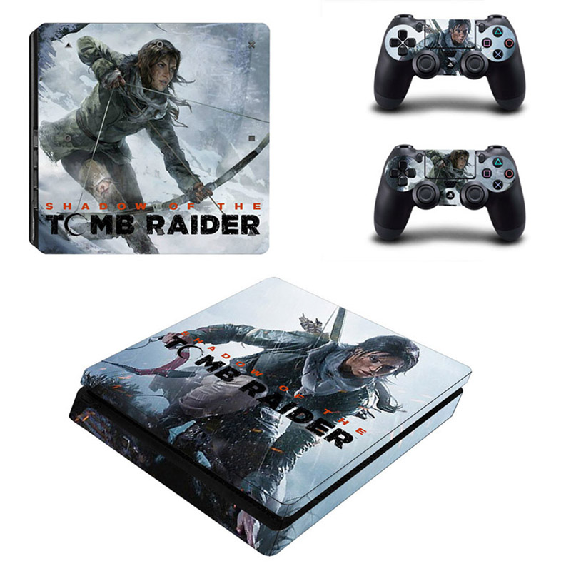 Tomb Raider PS4 Slim Stickers PS 4 Play station 4 Slim Vinyl Skin Sticker Decals For PlayStation 4 Slim console and controller image
